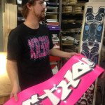 Matt showing the bases used to make the Prior Snowboards