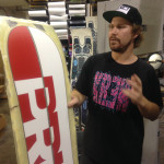 Matt showing off the two toned Prior bases of a snowboard