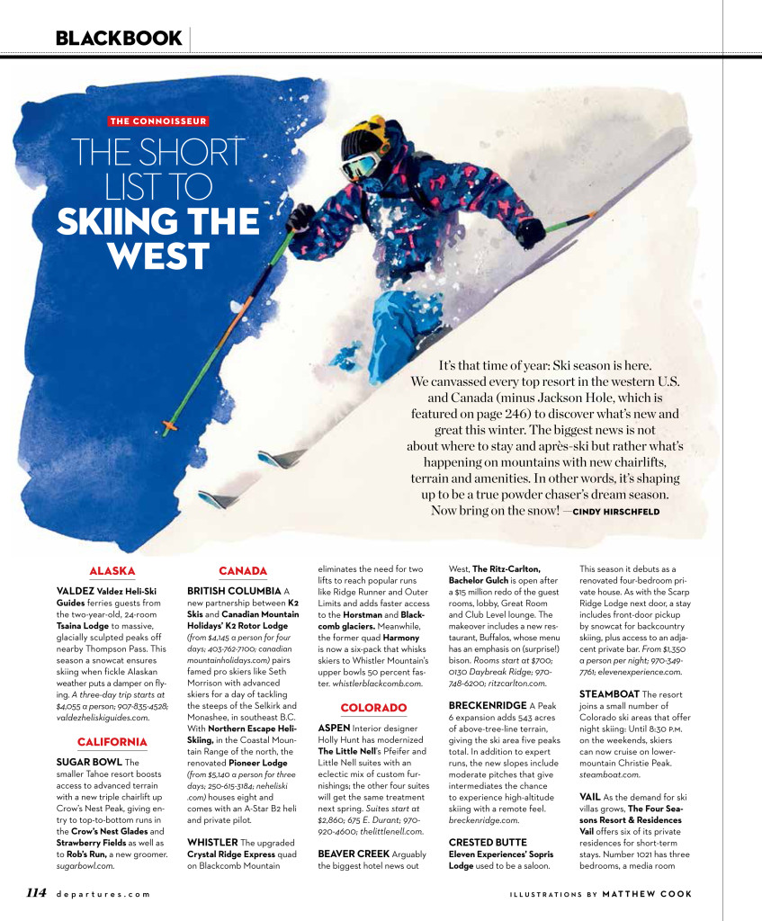 2013 Departures Magazine article 'The short list to skiing the west.