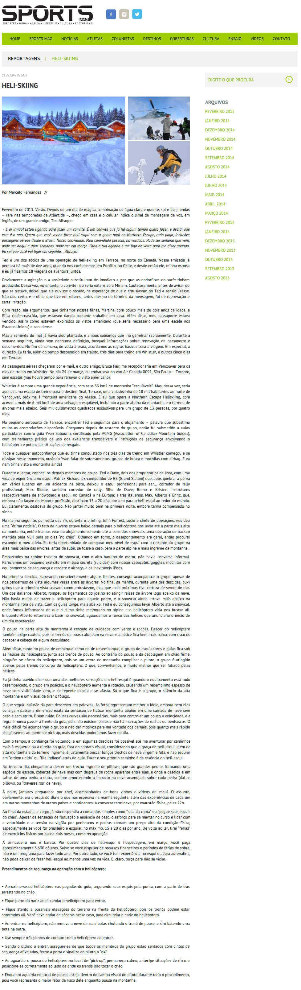 2013 Sports Mag Brazil heli skiing report