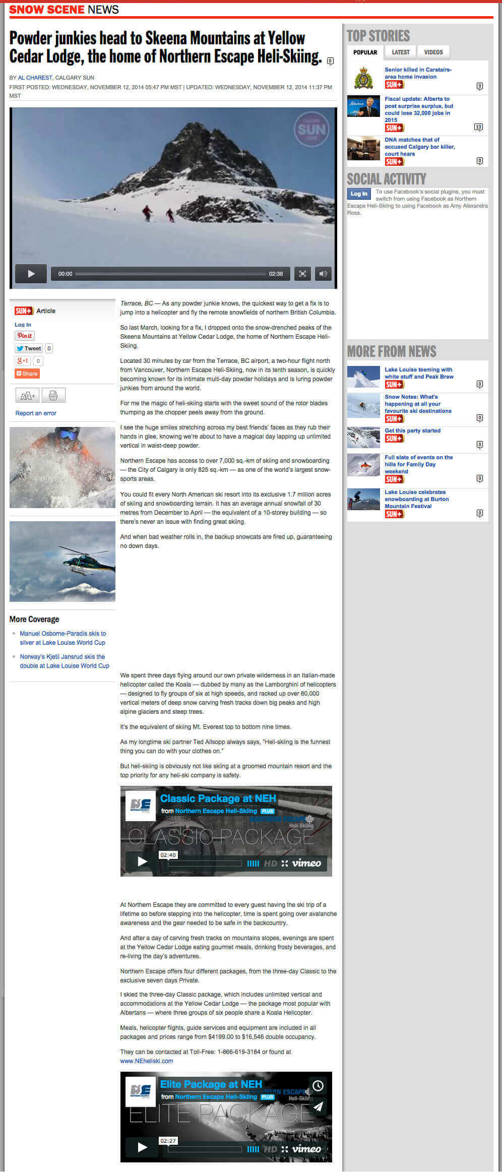2014 Calgary Sun article - Powder Junkies head to Skeena Mountains