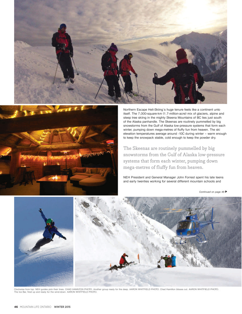 Mountain Life page- The Great Escape - Heli Skiing in BC article