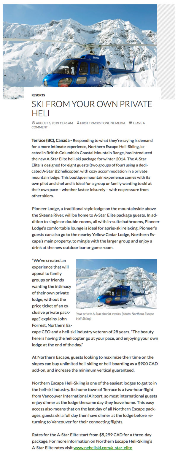 Story from First Tracks Media titled 'Ski from your own private heli'