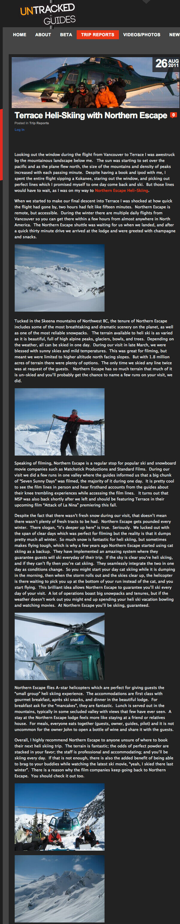 2011 Untracked Guides article- Terrace Heli Skiing