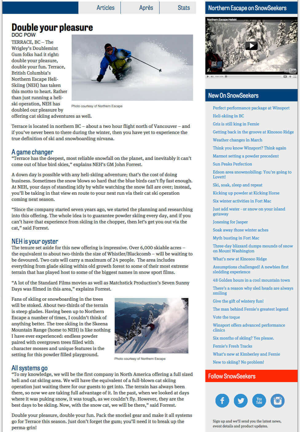 2013 Snowseekers- double your pleasure article