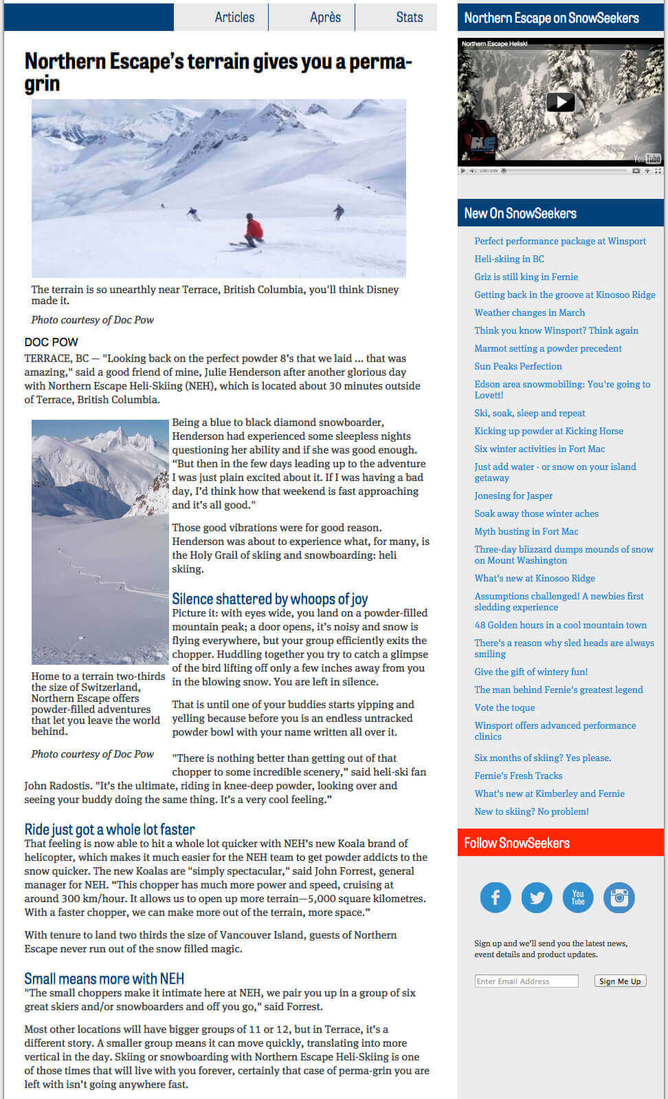 2013 Snowseekers article- Terrain gives you a permagrin
