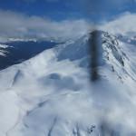 Private heli skiing group new run