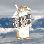 Sherwood Mountian Brewery logo superimposed over an image of the Skeena mountains and river
