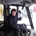 Oldest Female Skier - Una drives the cat