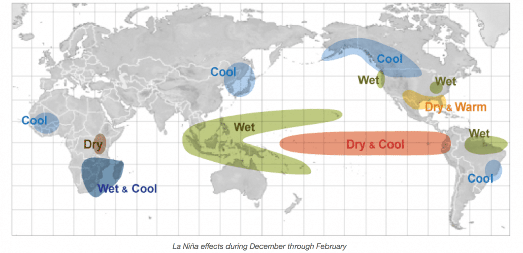 Map of the World Showing Effects of La Nina