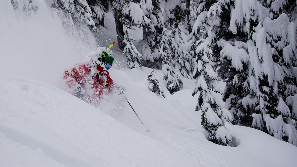 Heli Skier with Snorkel Tree Skiing in Deep Powder