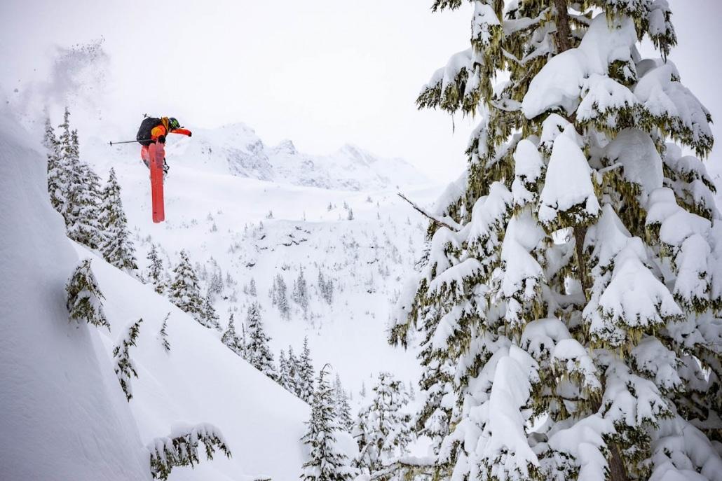heli skier jumping