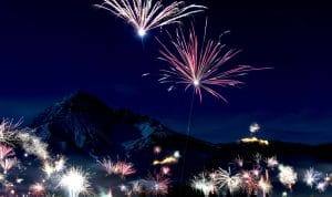 New Years Fireworks over the mountains.