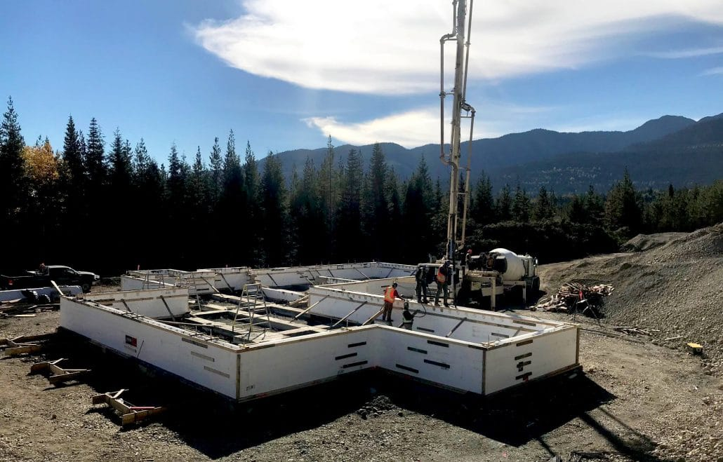 Pouring concrete for the new remote mountain lodge.