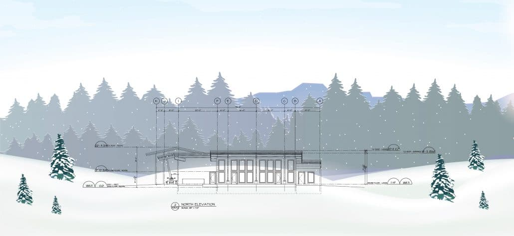 Plan and outline of the new remote mountain lodge.