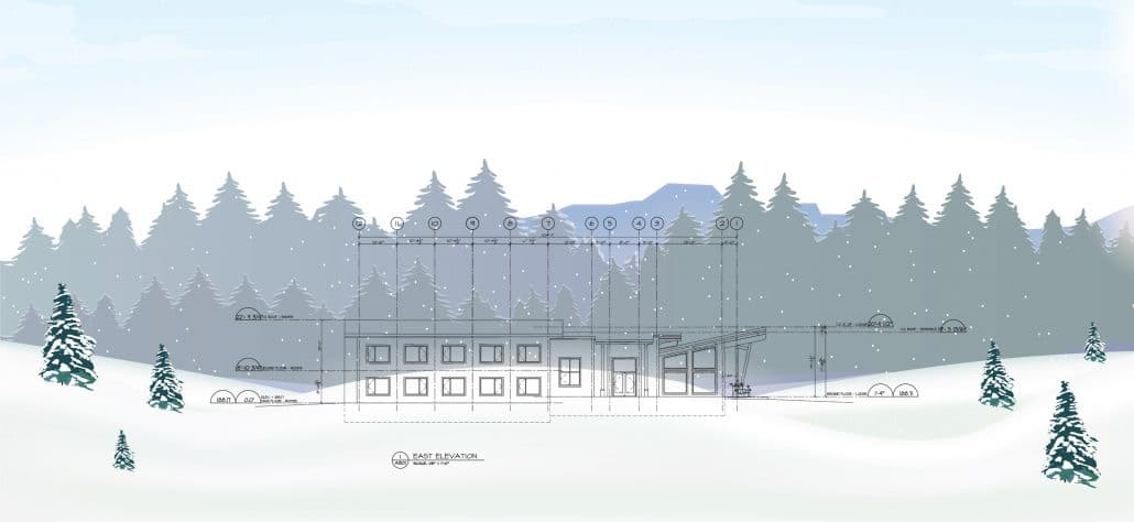 Drawing of the new lodge on the lakefront looking east.