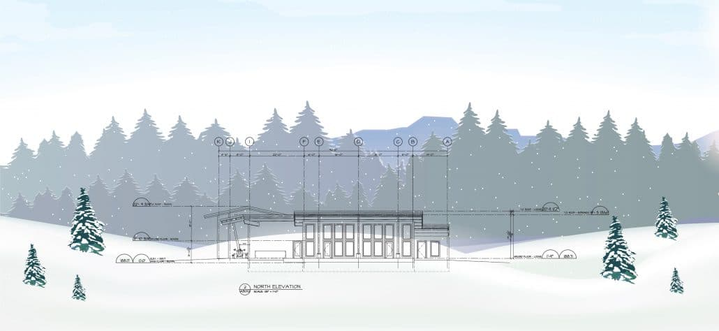 Drawing of the new lodge on the lakefront looking North.