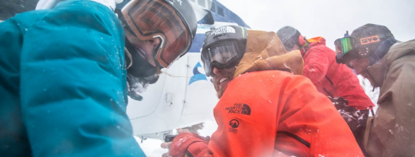 heli skiers in Skeena Mountains, BC